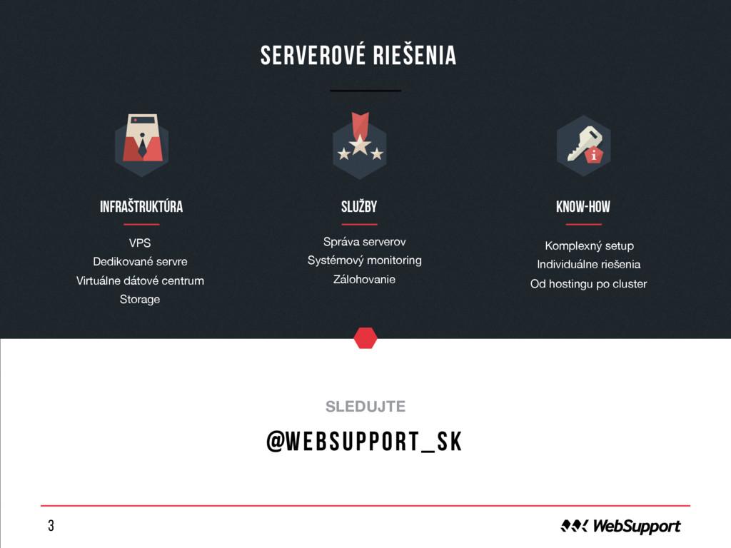 3 Serverové riešenia o SLEDUJTE @websupport_sk ...