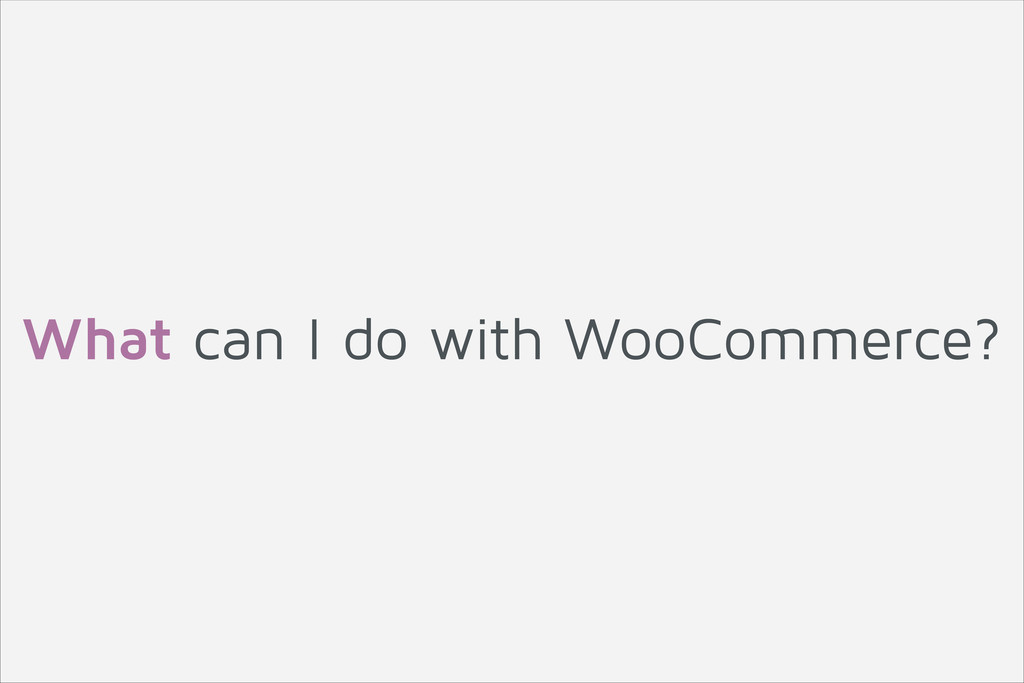 What can I do with WooCommerce?