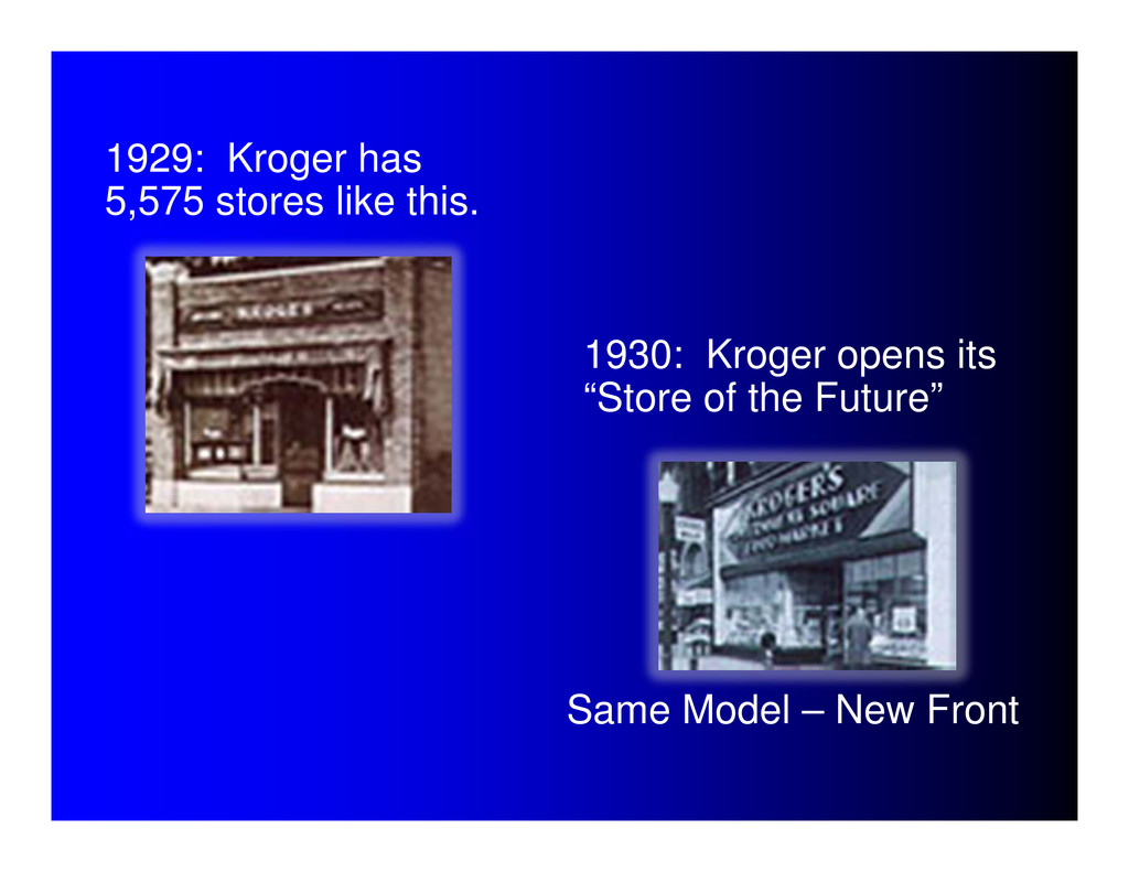 1929: Kroger has 5,575 stores like this. 1930: ...