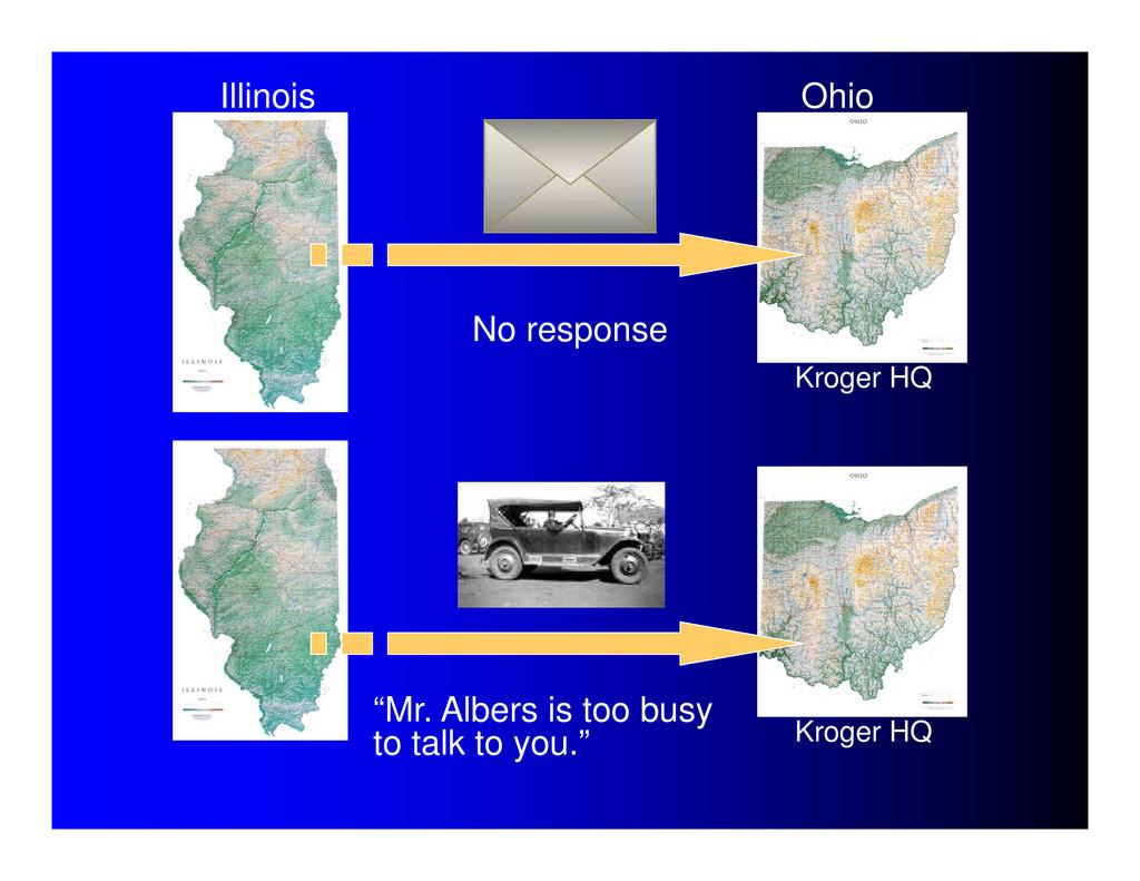 "Illinois Ohio No response ""Mr. Albers is too bu..."
