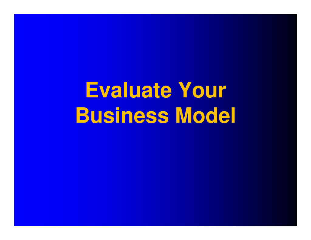 Evaluate Your Business Model