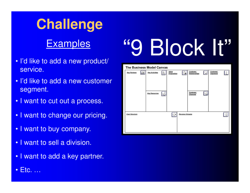 Challenge Examples • I'd like to add a new prod...