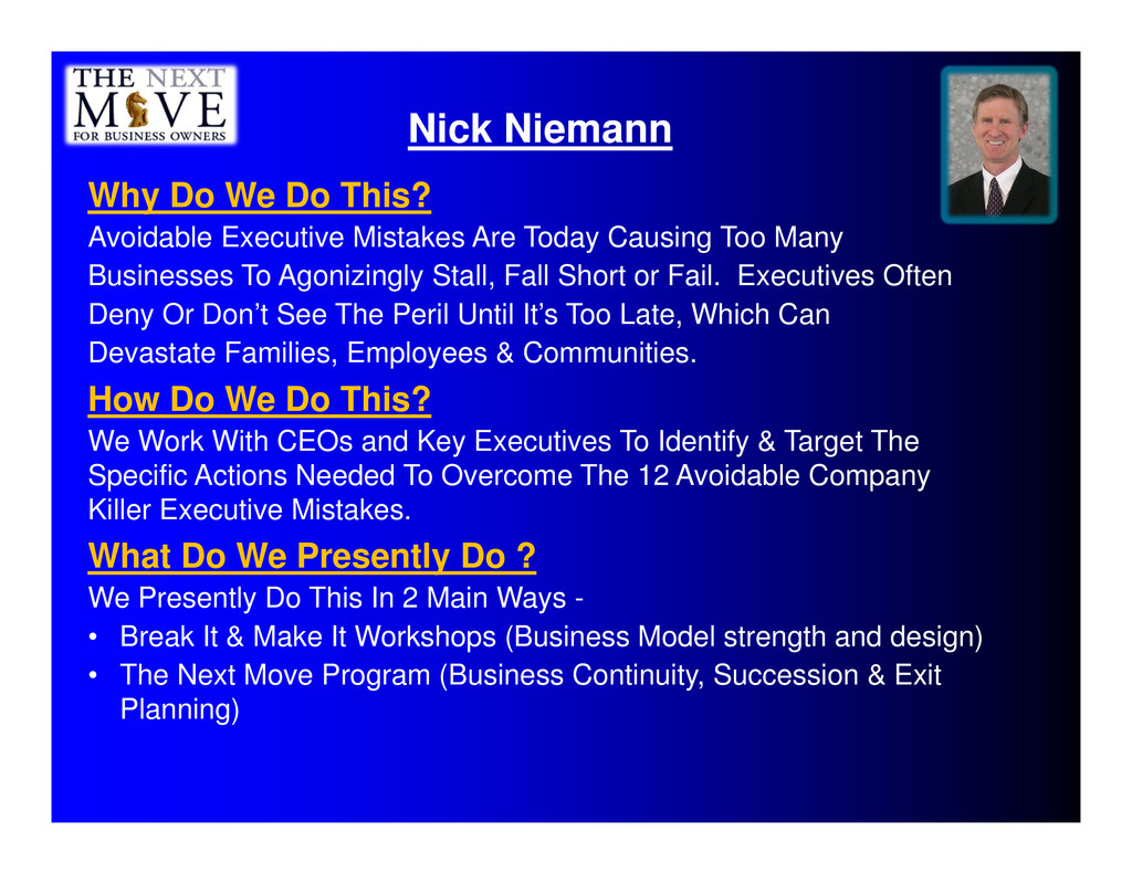 Nick Niemann Why Do We Do This? Avoidable Execu...