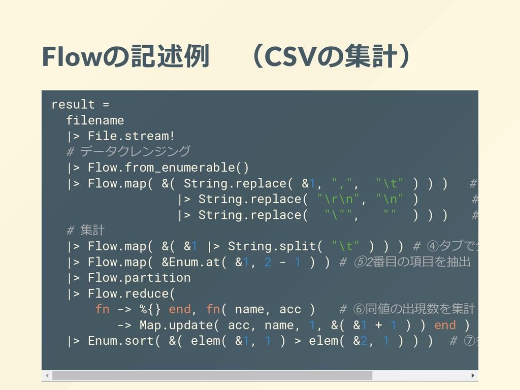 Flowの記述例 (CSVの集計) result = filename |> File.str...
