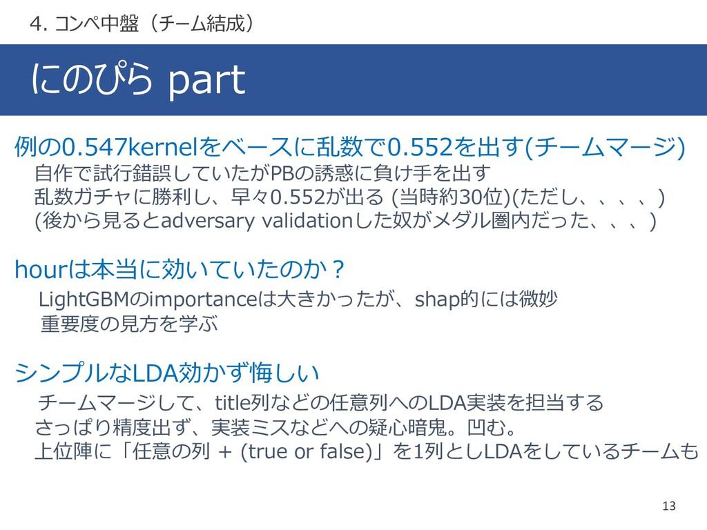 にのぴら part 13 4. コンペ中盤(チーム結成) 例の0.547kernelをベースに...