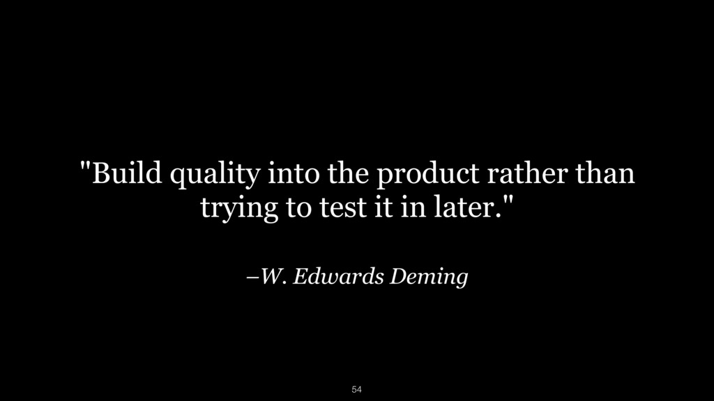 "–W. Edwards Deming ""Build quality into the prod..."