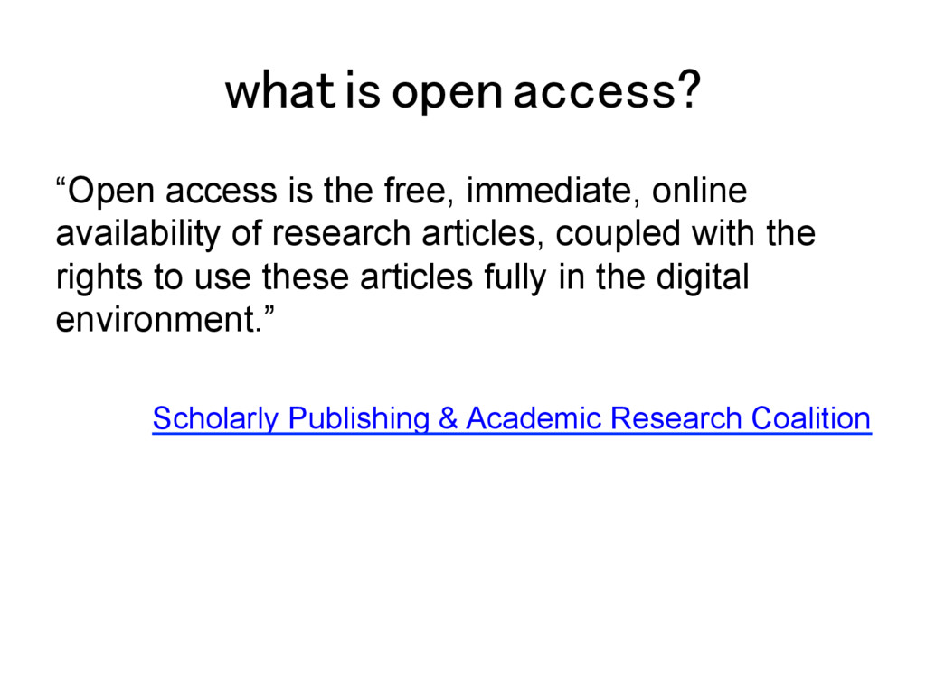 "what is open access?! ""Open access is the free,..."