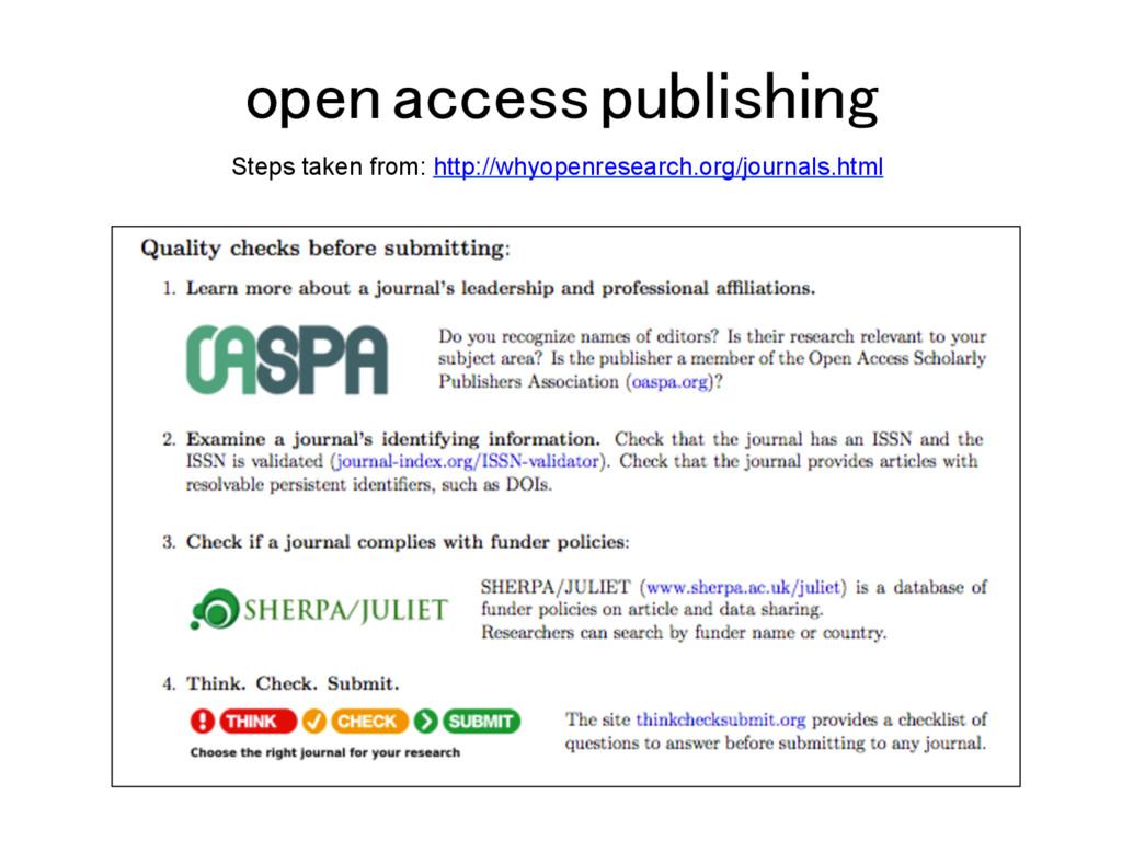 open access publishing! Steps taken from: http:...