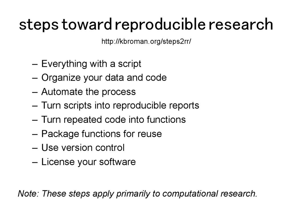 steps toward reproducible research! –  Everythi...