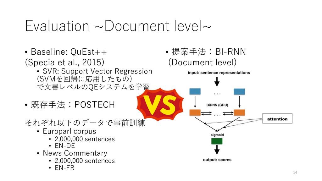 Evaluation ~Document level~ • Baseline: QuEst++...