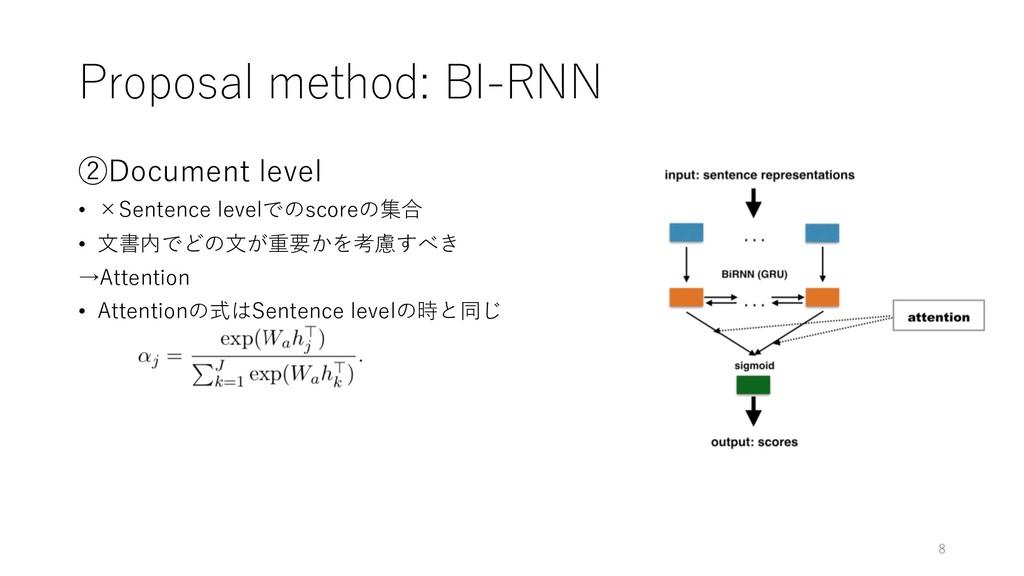 Proposal method: BI-RNN ②Document level • ×Sent...