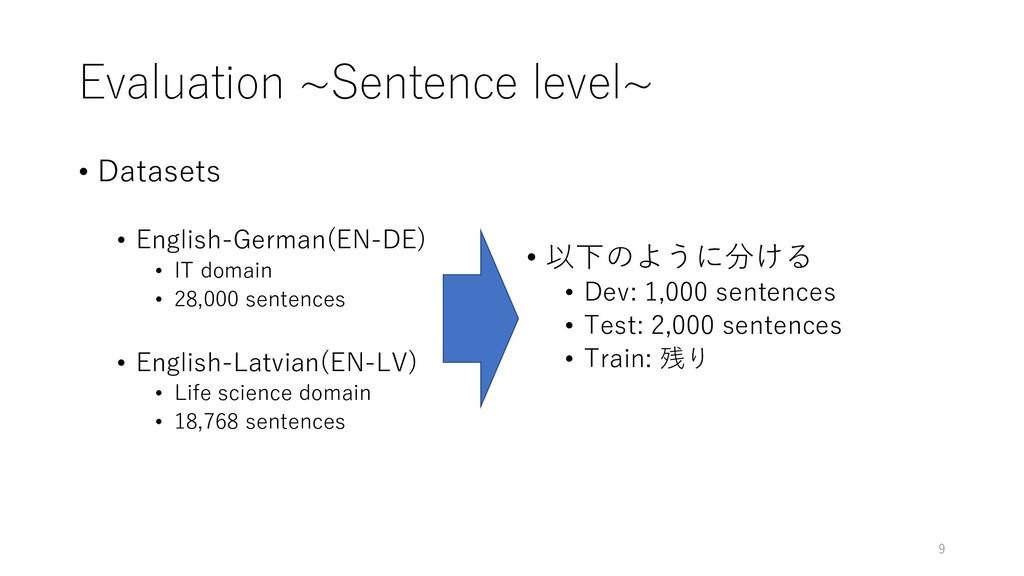 Evaluation ~Sentence level~ • Datasets • Englis...