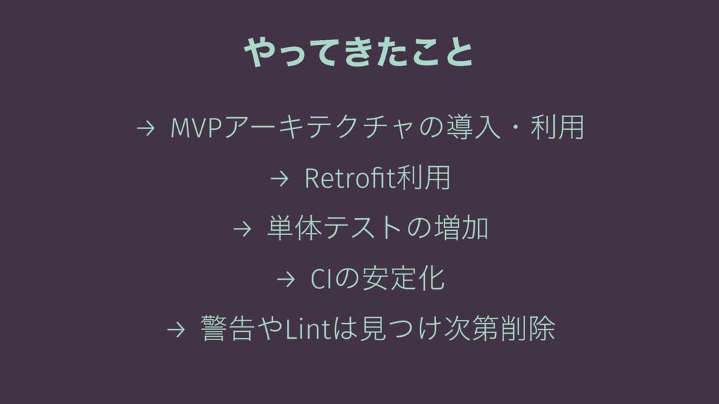 ͖ͬͯͨ͜ͱ → MVPΞʔΩςΫνϟͷಋೖɾར༻ → Retrofitར༻ → ୯ମςετͷ...