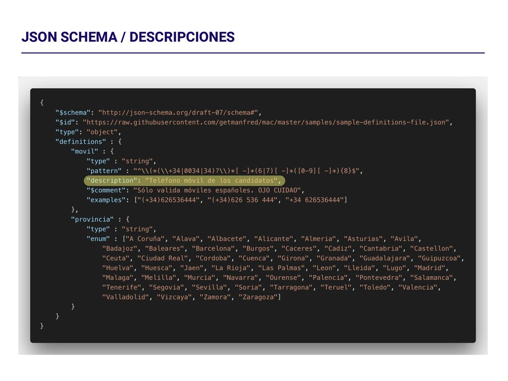 JSON SCHEMA / DESCRIPCIONES