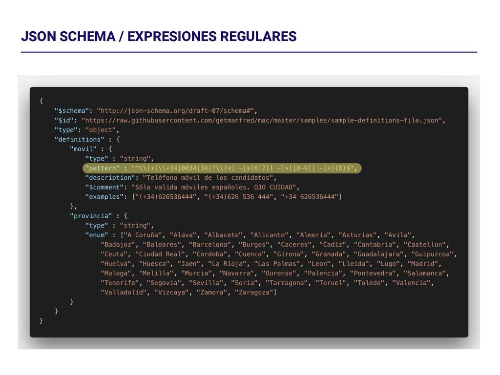 JSON SCHEMA / EXPRESIONES REGULARES
