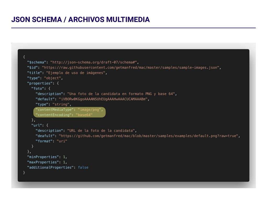 JSON SCHEMA / ARCHIVOS MULTIMEDIA