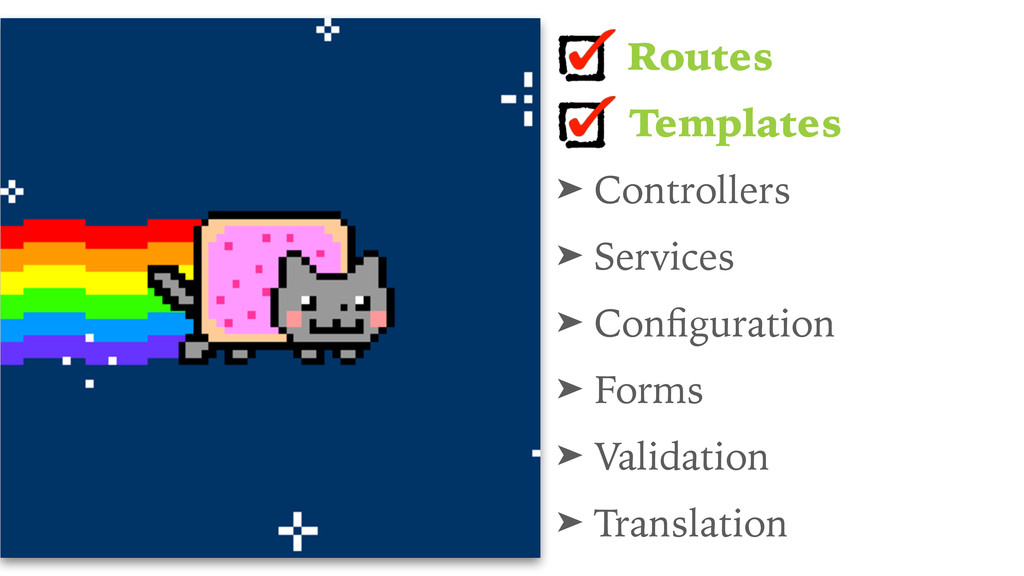 Routes Templates ➤ Controllers ➤ Services ➤ Con...