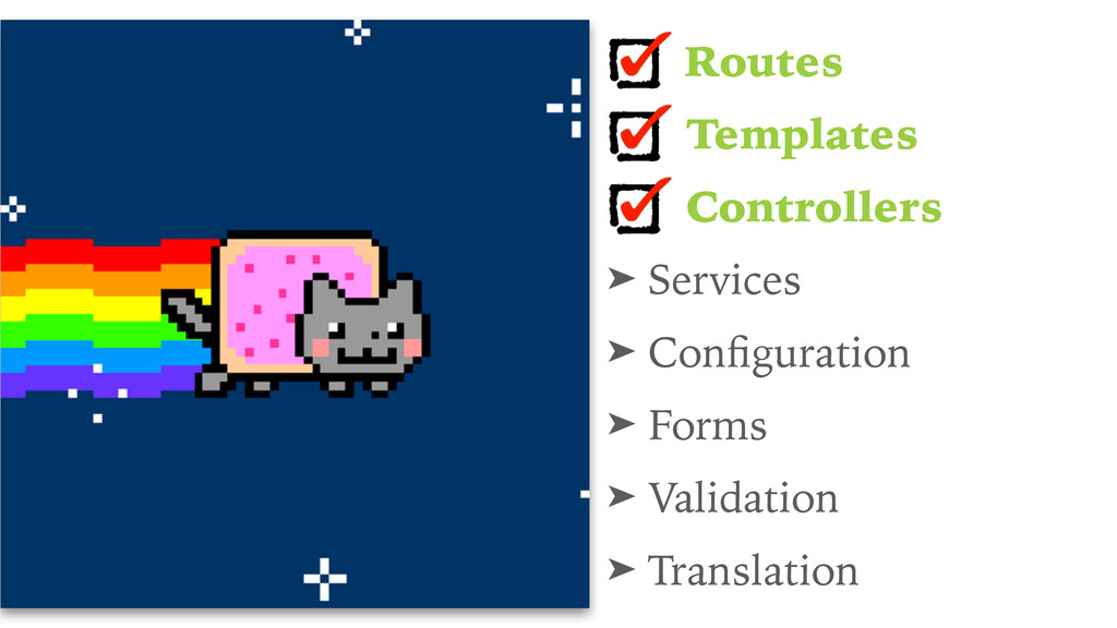 Routes Templates Controllers ➤ Services ➤ Config...