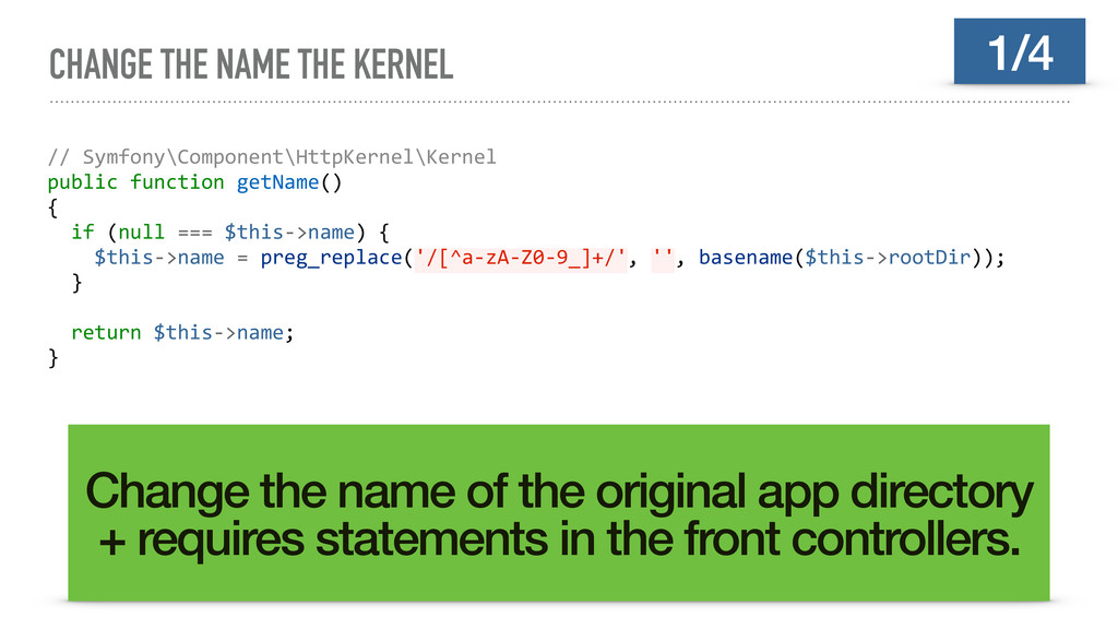 CHANGE THE NAME THE KERNEL // Symfony\Component...