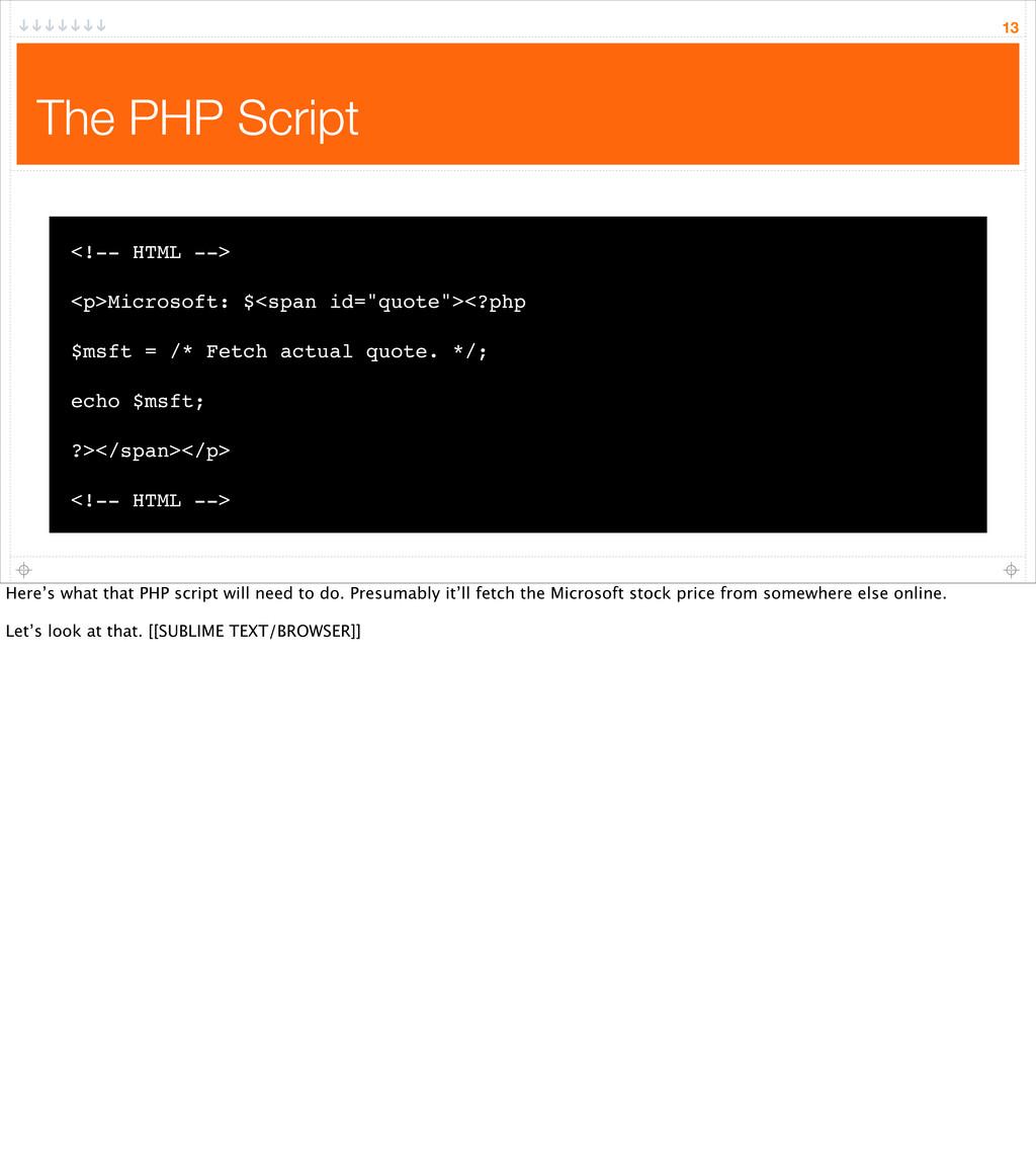 The PHP Script 13 <!-- HTML --> <p>Microsoft: $...
