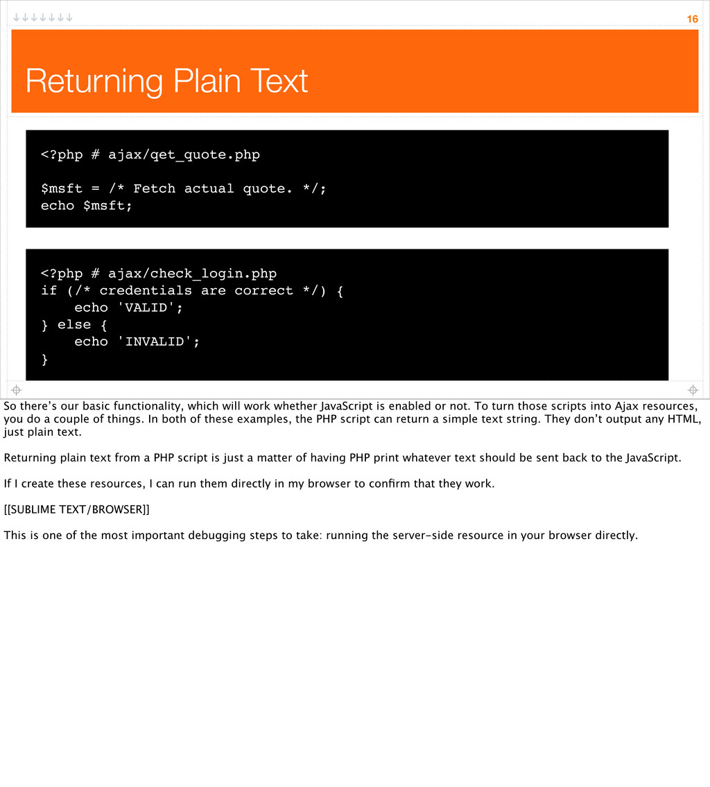 Returning Plain Text 16 <?php # ajax/qet_quote....