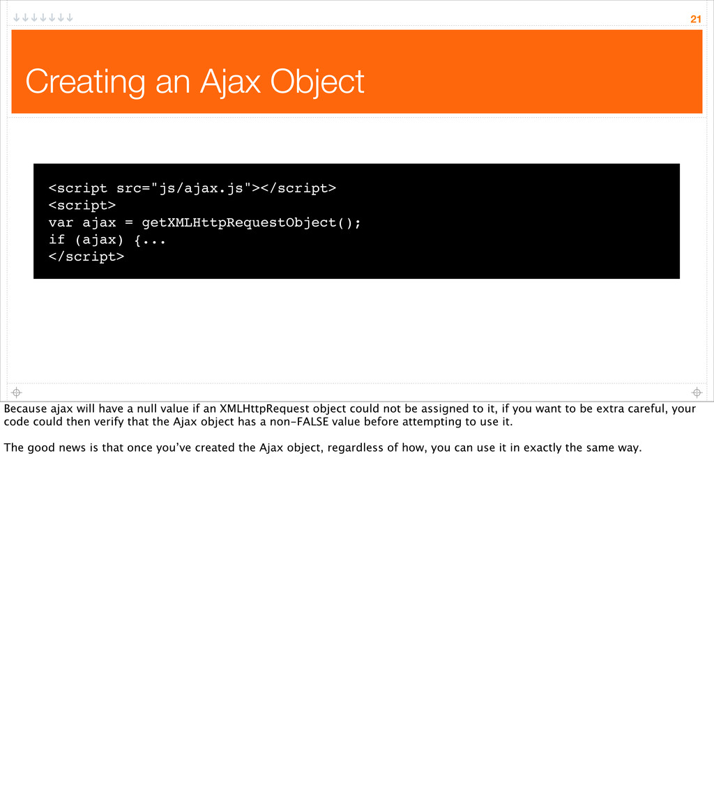 "Creating an Ajax Object 21 <script src=""js/ajax..."