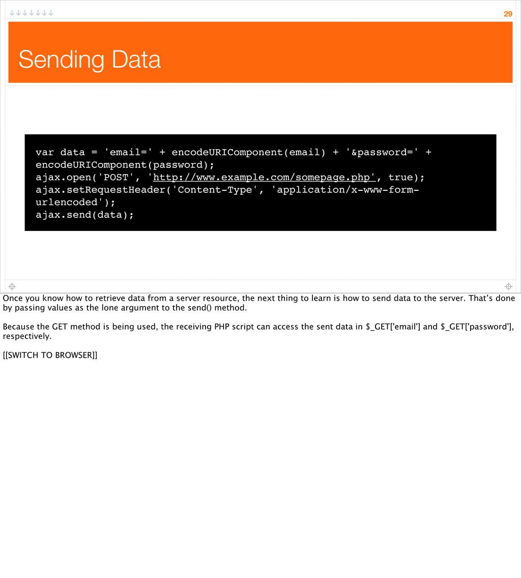 Sending Data 29 var data = 'email=' + encodeURI...