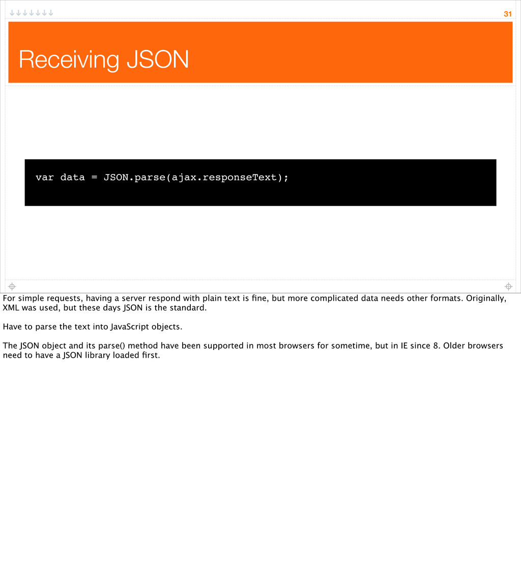 Receiving JSON 31 var data = JSON.parse(ajax.re...