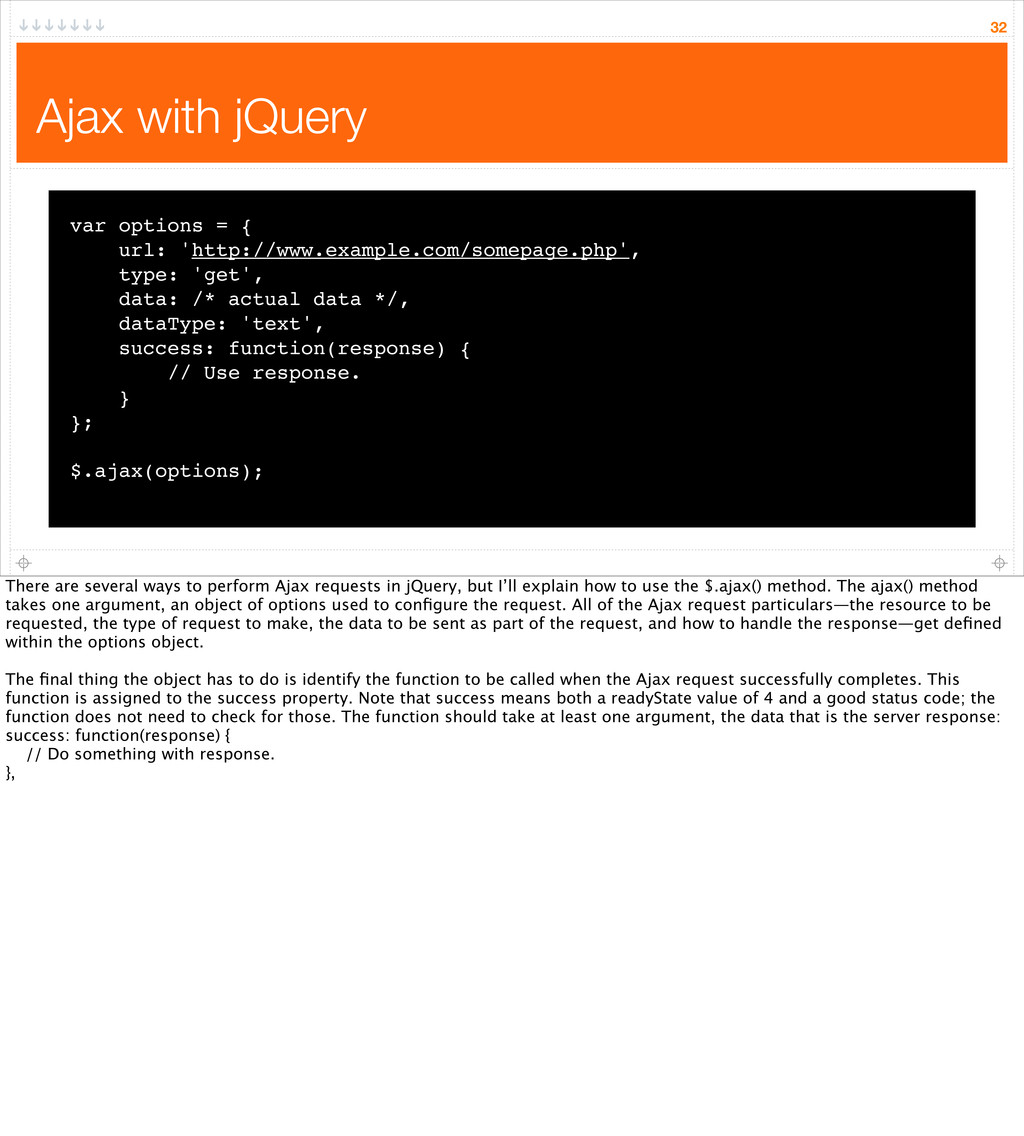 Ajax with jQuery 32 var options = { url: 'http:...