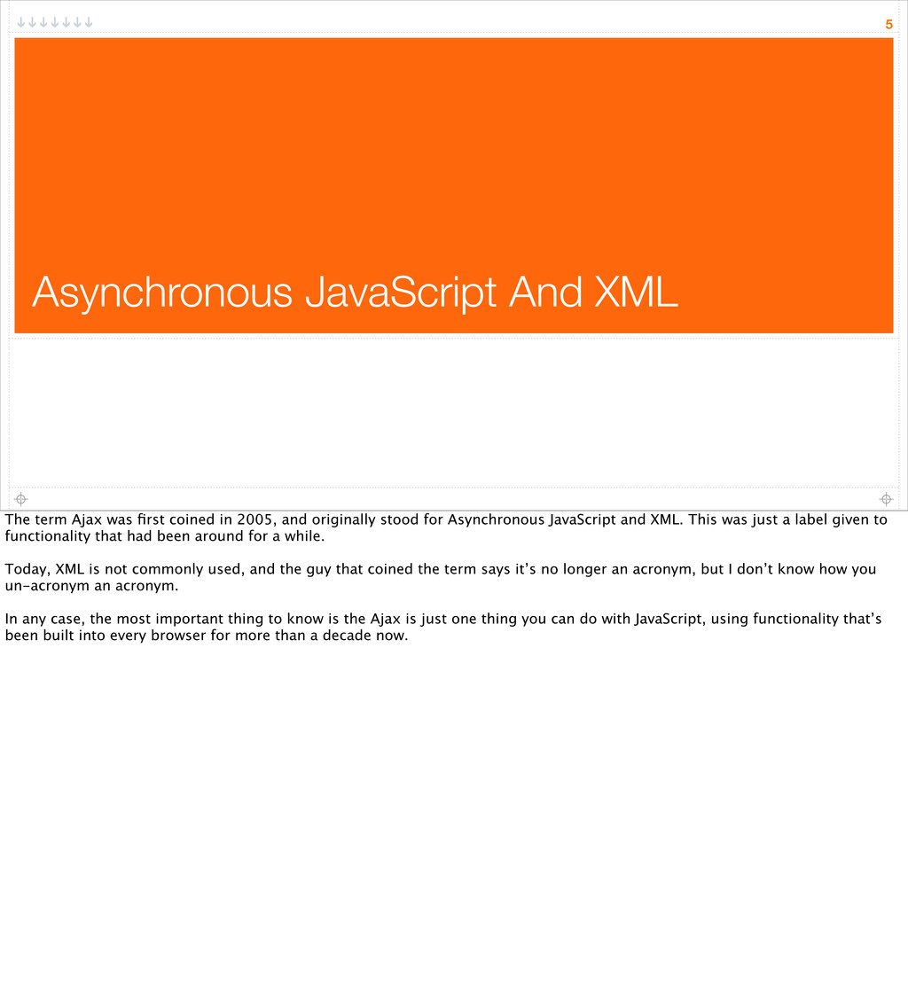 Asynchronous JavaScript And XML 5 The term Ajax...