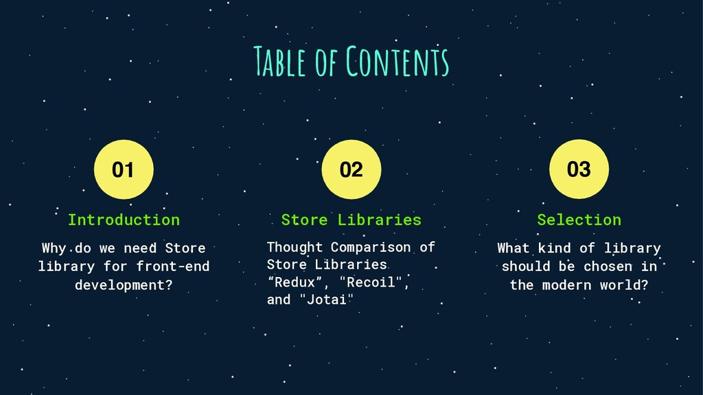 01 02 Table of Contents Thought Comparison of S...