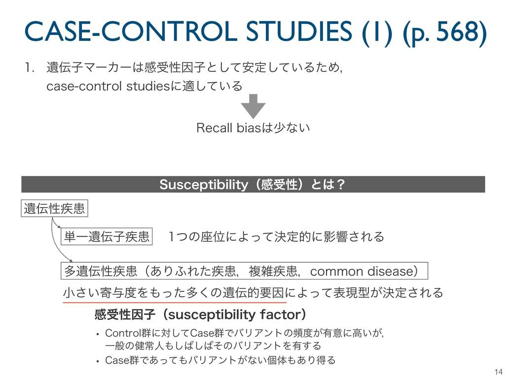CASE-CONTROL STUDIES (1) (p. 568) 14  ҨࢠϚʔΧʔ...