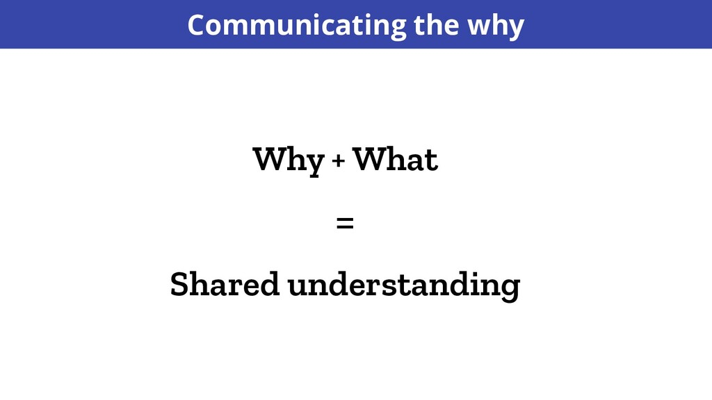 Why + What = Shared understanding Communicating...