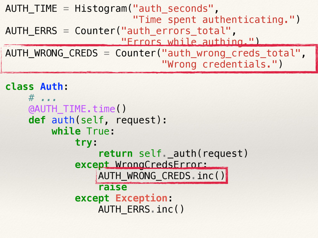 """AUTH_TIME = Histogram(""""auth_seconds"""", """"Time spe..."""