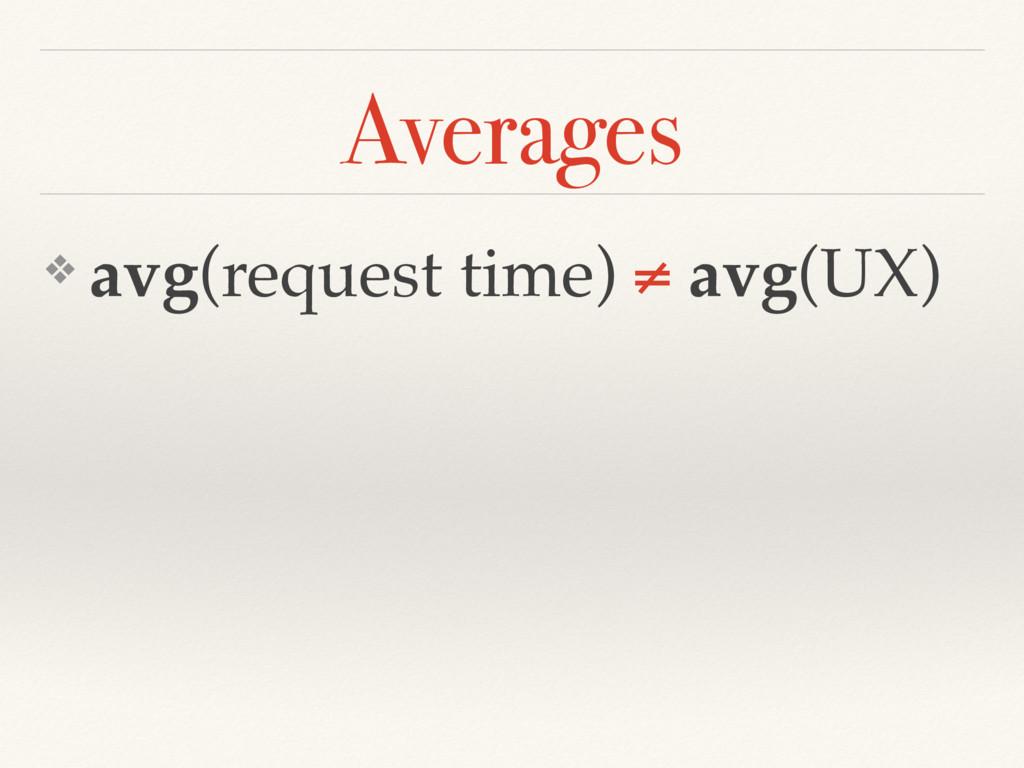 ❖ avg(request time) ≠ avg(UX) Averages