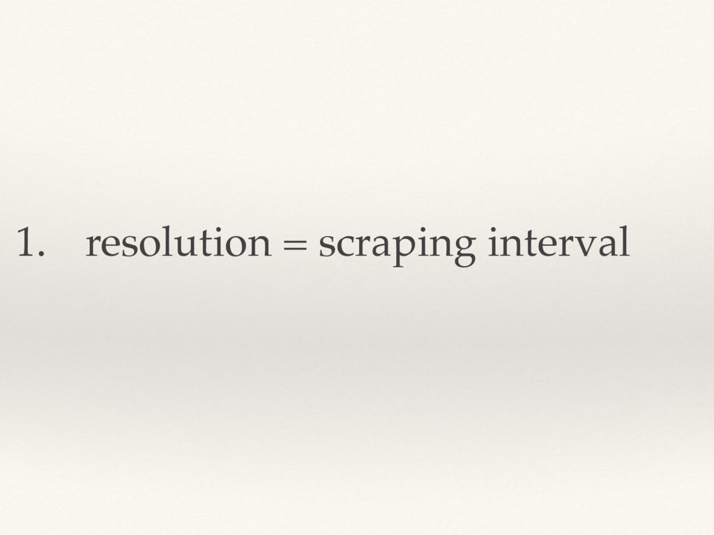 1. resolution = scraping interval