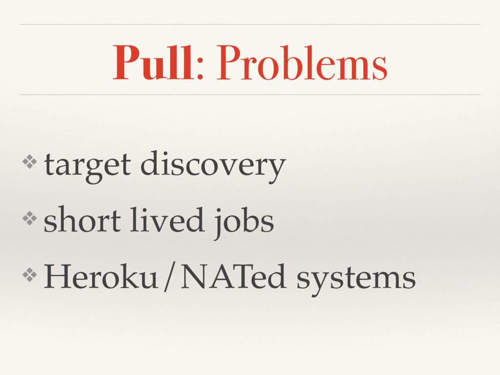 Pull: Problems ❖ target discovery ❖ short lived...