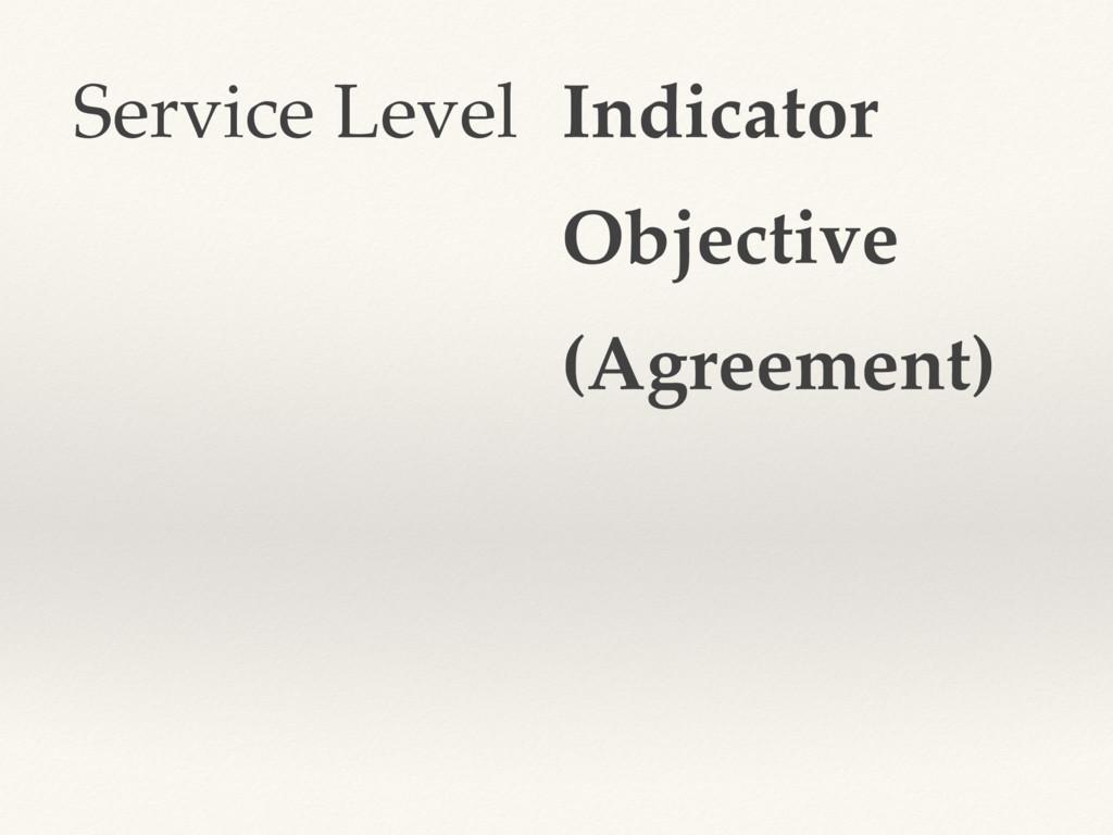 Service Level Indicator Objective (Agreement)