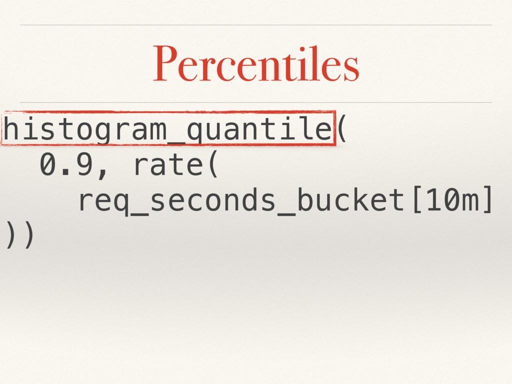 Percentiles histogram_quantile( 0.9, rate( req_...