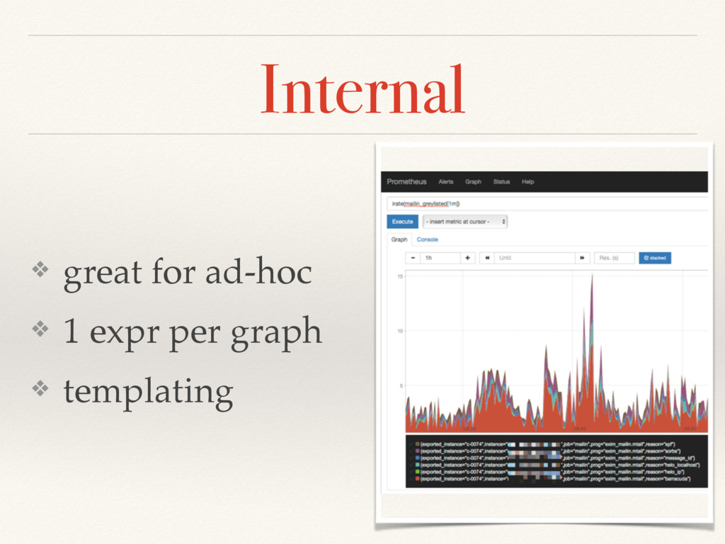 Internal ❖ great for ad-hoc ❖ 1 expr per graph ...