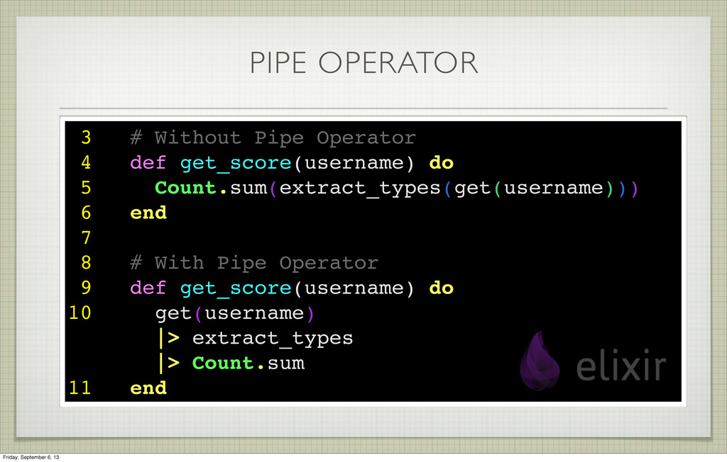 PIPE OPERATOR 3 # Without Pipe Operator 4 def g...