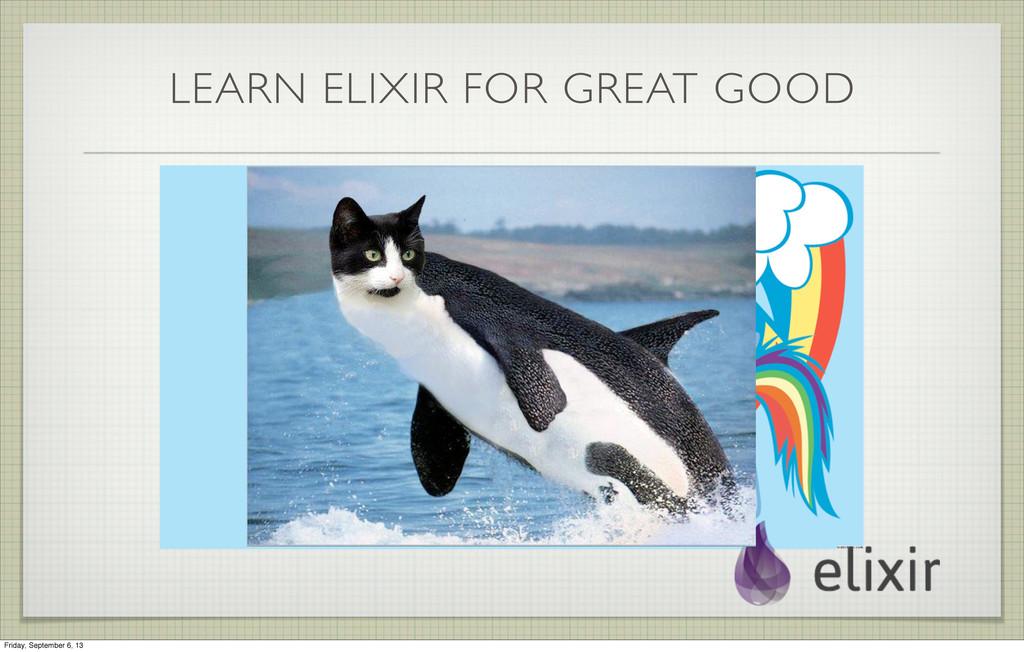 LEARN ELIXIR FOR GREAT GOOD Friday, September 6...