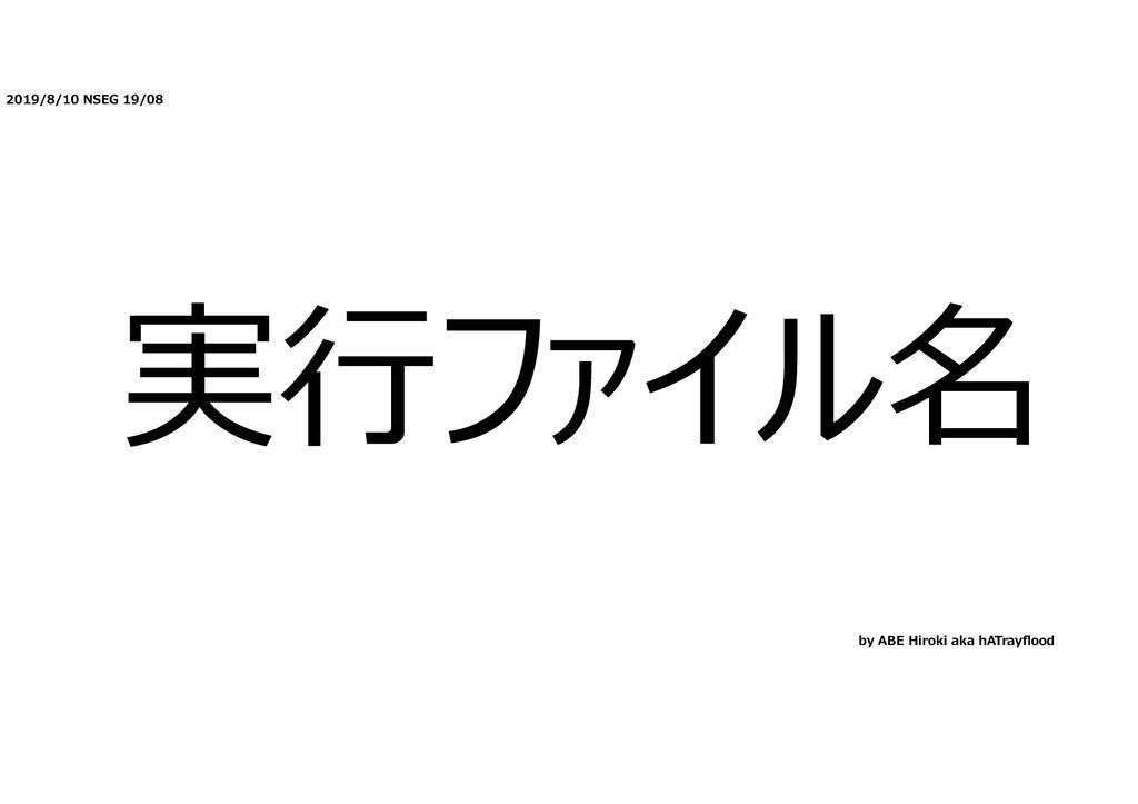 2019/8/10 NSEG 19/08 実⾏ファイル名 by ABE Hiroki aka ...
