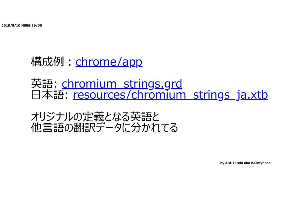 2019/8/10 NSEG 19/08 構成例︓chrome/app 英語: chromiu...