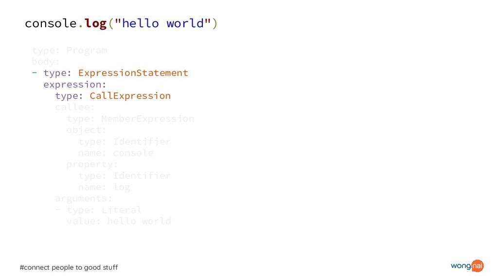 "console.log(""hello world"") type: Program body: ..."