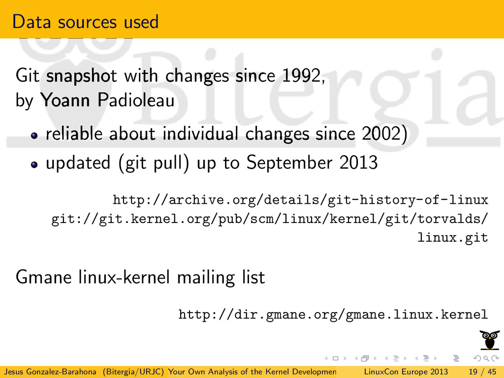 Data sources used Git snapshot with changes sin...