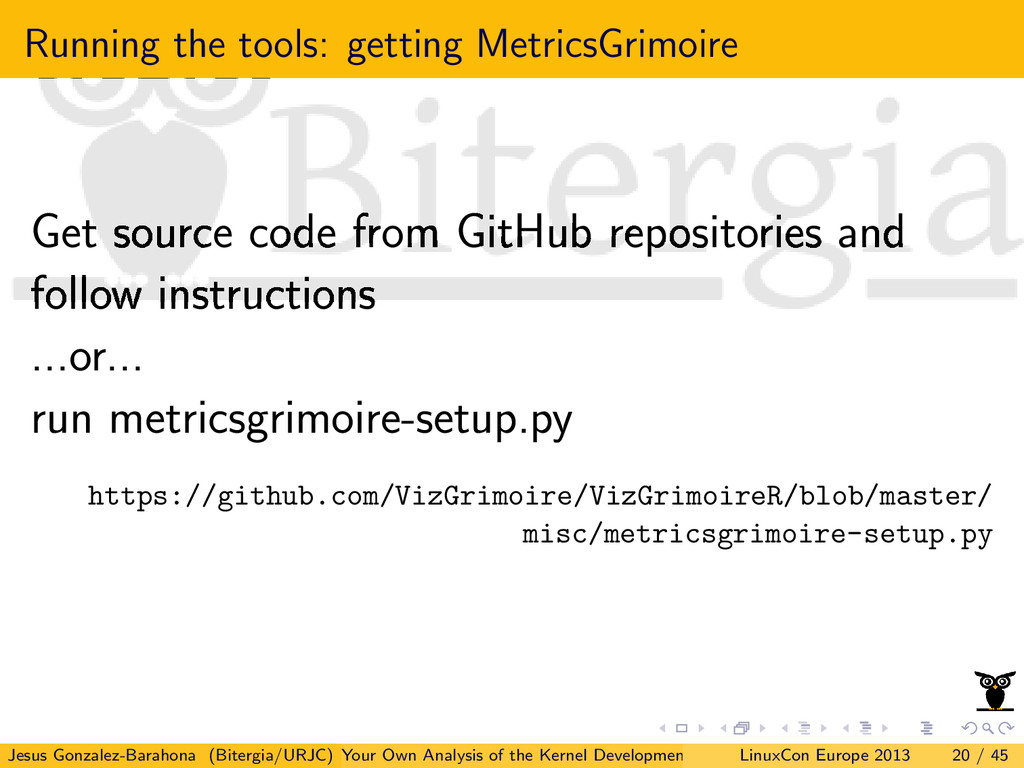 Running the tools: getting MetricsGrimoire Get ...