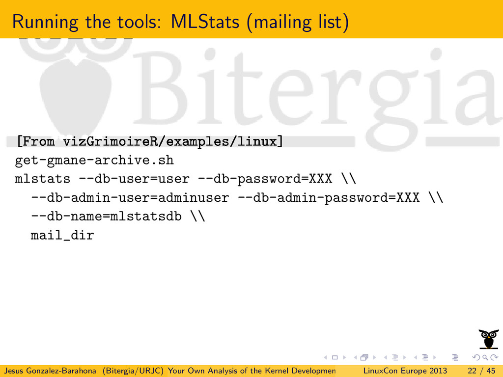 Running the tools: MLStats (mailing list) [From...