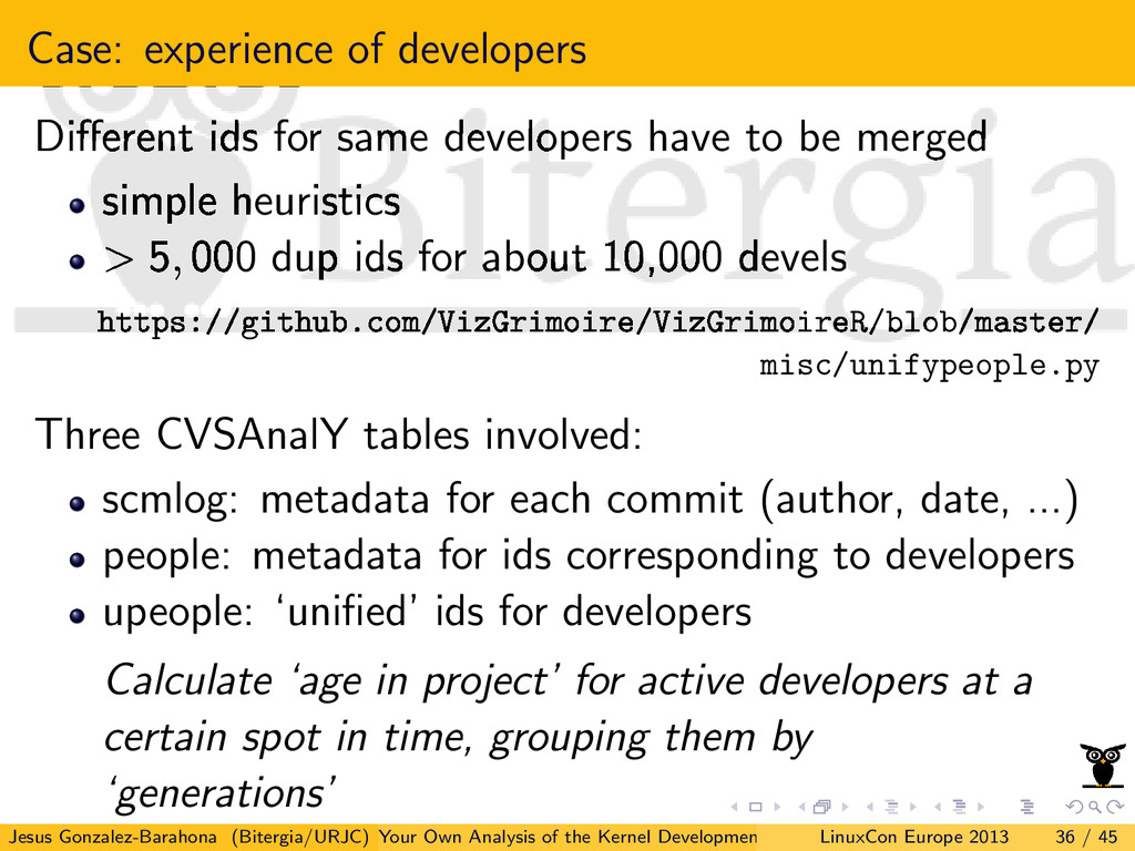 Case: experience of developers Different ids for...