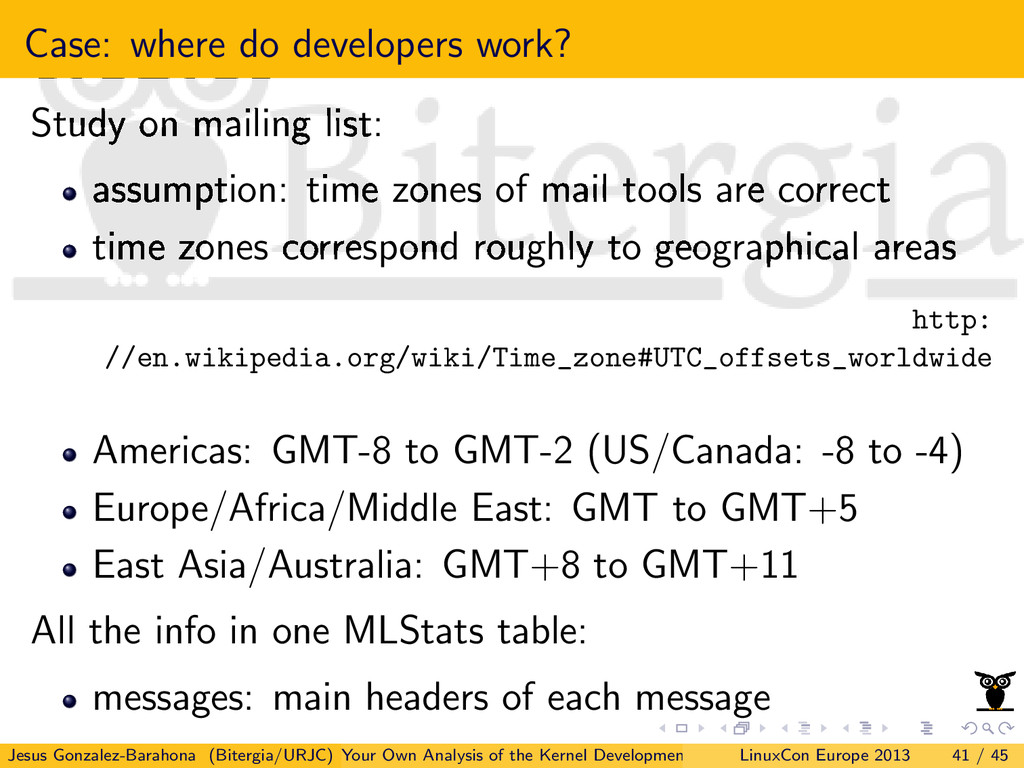 Case: where do developers work? Study on mailin...